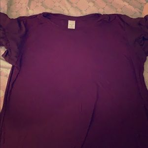Time and Tru Maroon Short Sleeve Shirt